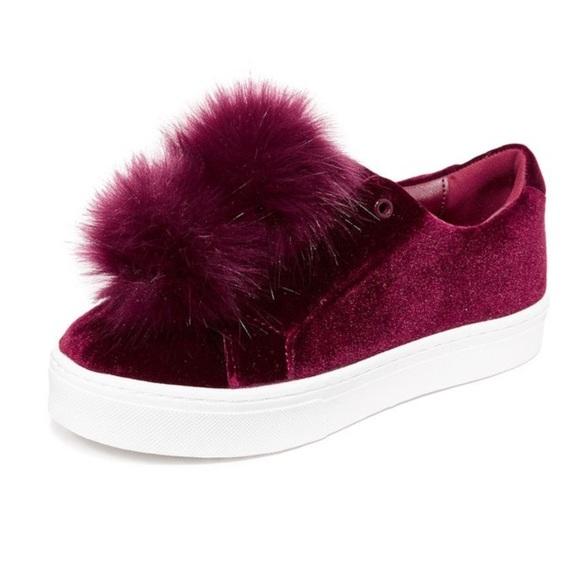 d1de559011c4 Sam Edelman Leya Pom Pom Sneakers - Wine Velvet. M 5b280f99819e90b7a3282150